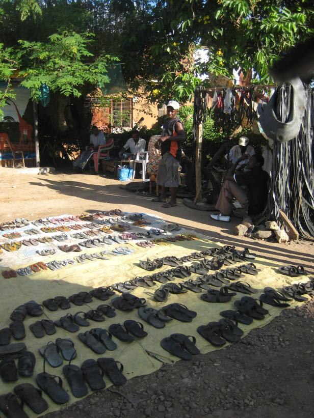 Maasai sandals on sale in Moshi, Tanzania