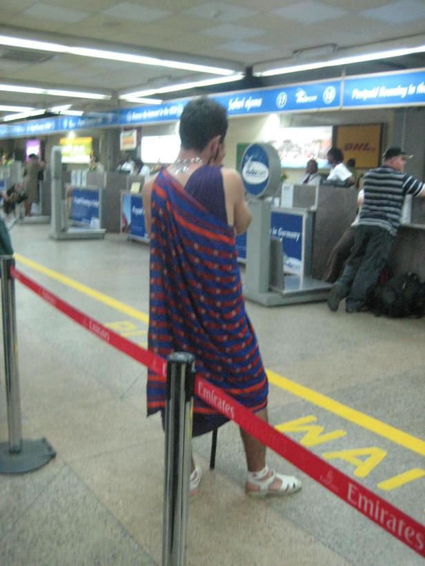 A white Maasai spotted in Dar es Salaam airport, Tanzania.