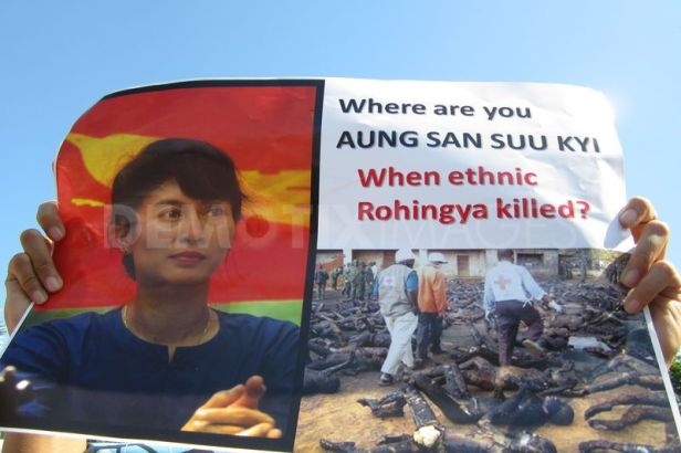 Suu Kyi has been criticised her lack of voice on the persecution of Ronhingyans