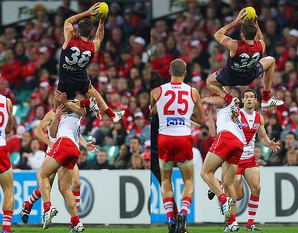 Jeremy Howe flies high against the Sydney Swans in 2012