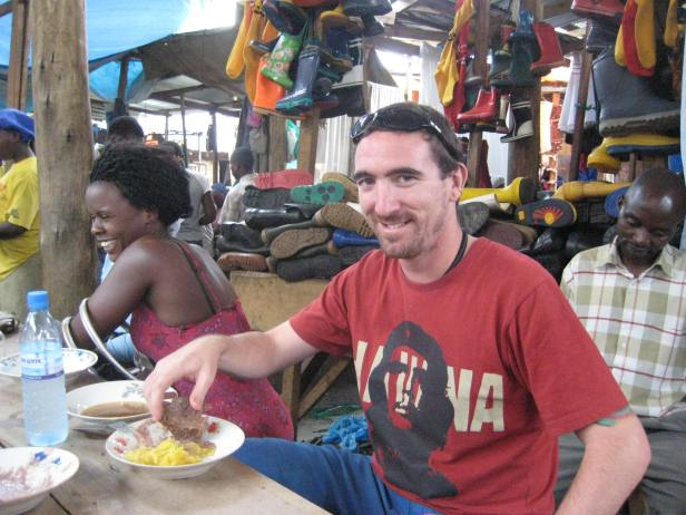 Eating matoke in Kampala
