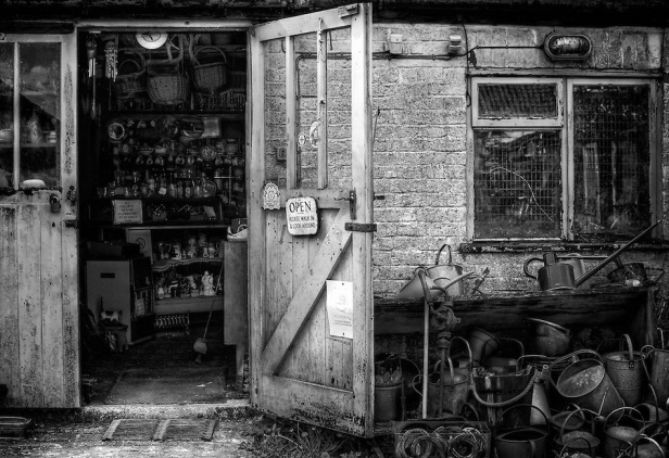 bempton-yorkshire-village-junk-shop-posessions-lost-found-old-new-black-and-white-photo