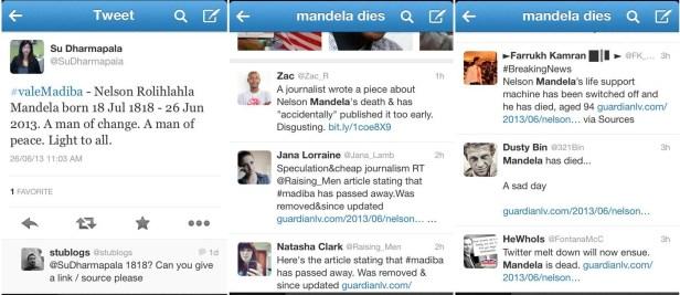 Premature Mandela tweets from June 2013