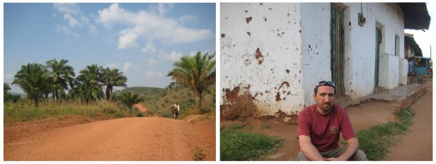 Left: The road to Burundi, right: a weary but satisfied traveller