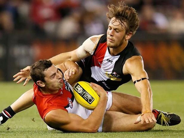Josh Saunders tackles Melbourne's A Georgiou