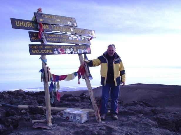 Mr Cock-Hornfellow atop Mt Kilimanjaro, Tanzania