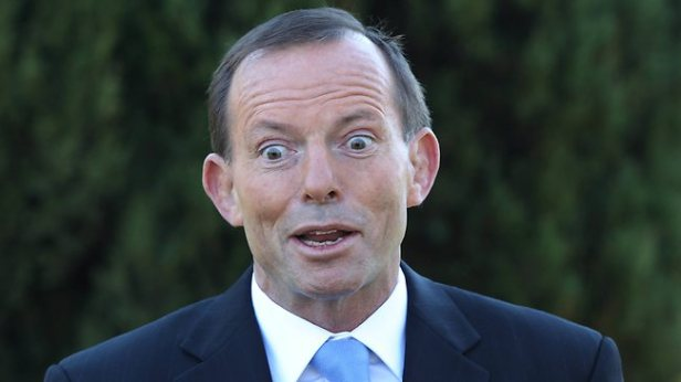 Tony Abbott shortly after inserting the suppository of wisdom.