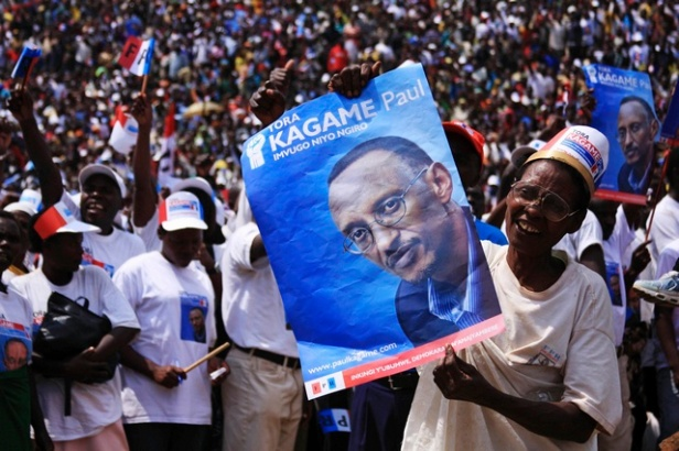 A Kagame supporter at a 2010 election rally.