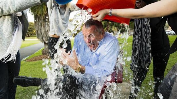 NSW Attorney General Brad Hazzard taking part in the Ice Bucket challenge