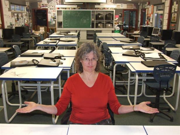 Ms Jenkins, inside the new 'staff and student safe' classrooms