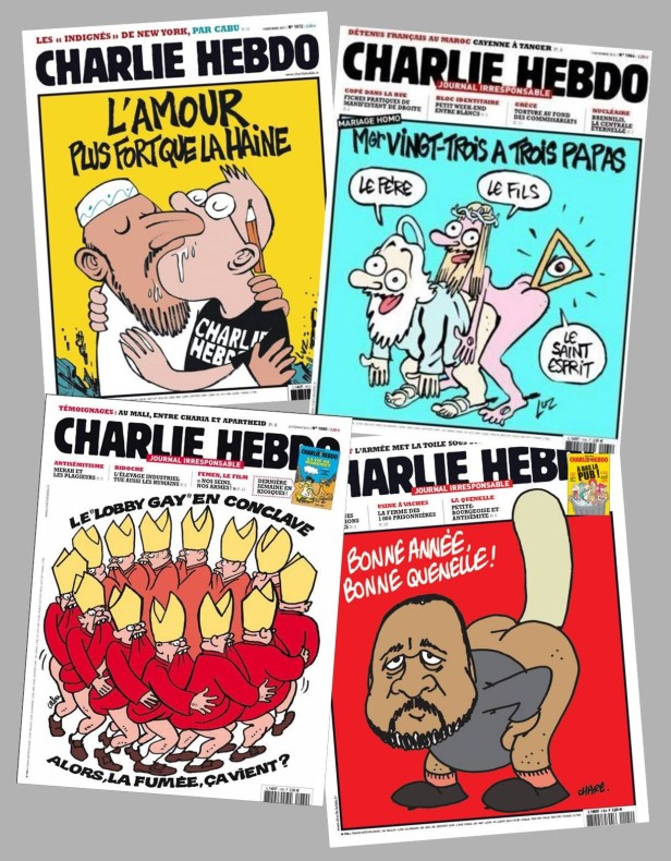 A selection of past Charlie Hebdo covers