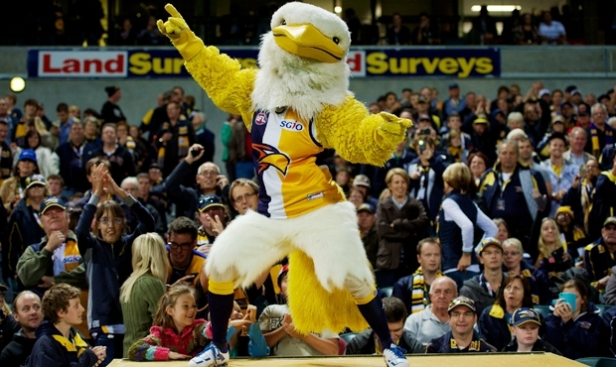 The West Coast Eagles mascot 'entertaining' the crowd pre game