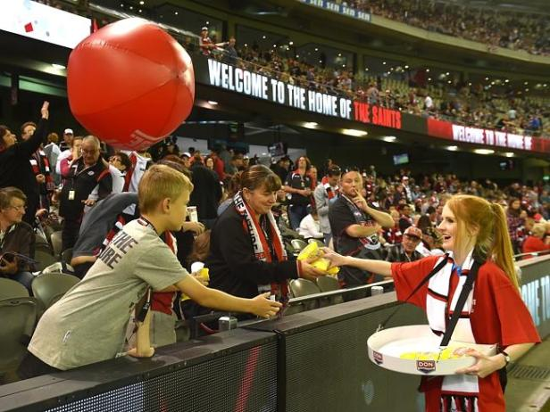 Beach balls and free bags of popcorn, enriching or diminishing the 'match day experience..?'