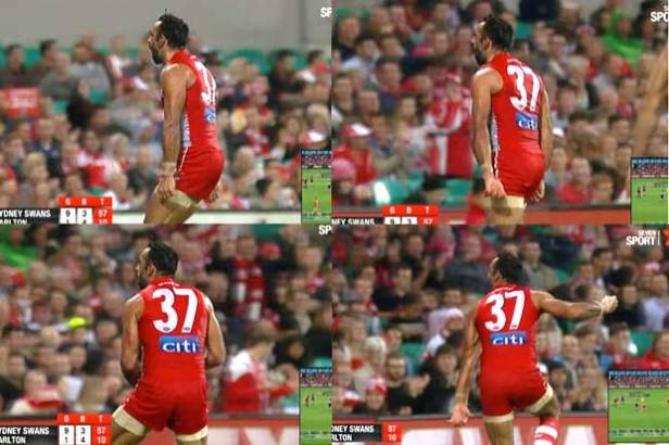 Adam Goodes performing his 'war dance' during Indigenous Round
