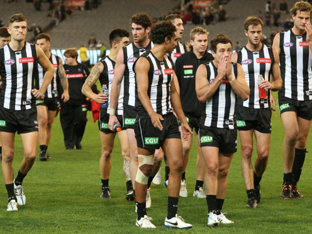 Collingwood players rue another missed opportunity, in their round 6 loss to Geelong