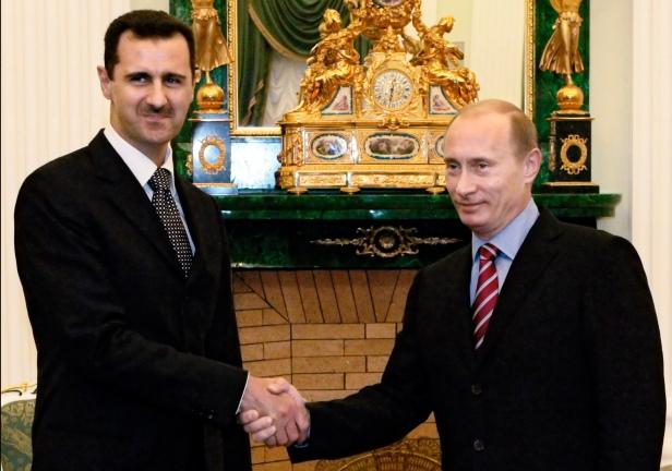 Bashar al Assad with Russian president Vladimir Putin