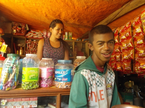 Srijane and her brother at their families shop in Chondeni