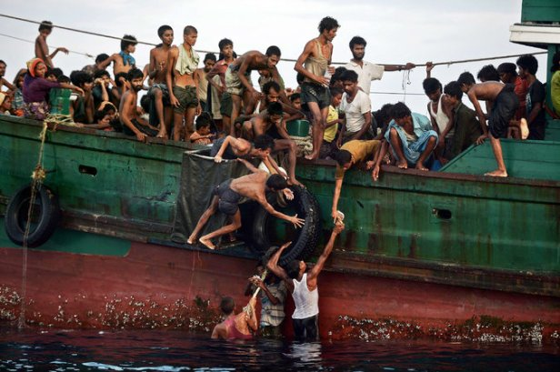 A boat carrying Rohingya refugees.