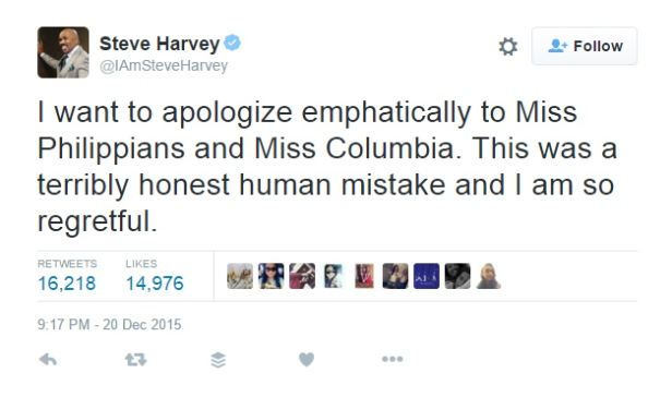 Steve Harvey's apology tweet.