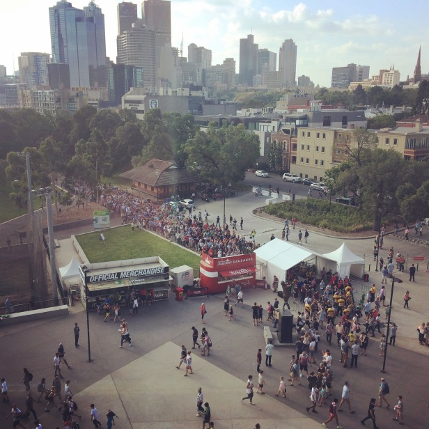 Crowds gather outside the MCG