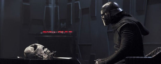 Kylo Ren topping up on Dark Side vibes in a session with Darth Vader's helmet