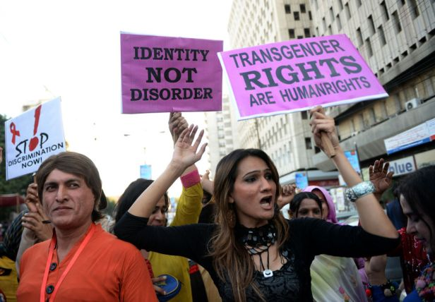 Protestors marching for transgender rights in Pakistan