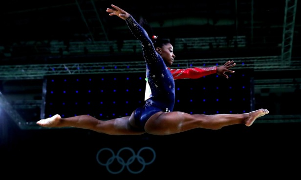 American gymnast Simone Biles in action