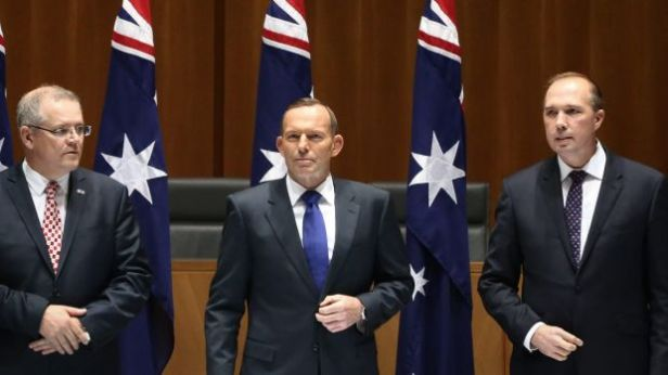 The architects of Operation Sovereign Borders: former Immigration Minister Scott Morrison, former PM Tony Abbott & current Immigration Minister Peter Dutton